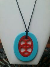 Beautiful resin light blue and orange fun chunky pendant necklace