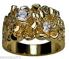 Men's robust 1.5 carat cz nugget ring 18K gold overlay size 14