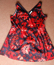 New Sz 24 Navy & Red Floral Fit & Flare Cotton prom cocktail Dress Party Gift