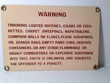 Vintage 1970's Porcelain on Metal Trash Compactor Chute Warning Sign
