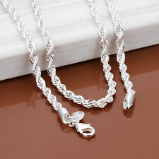 4MM Snake Rope Chain 925 Sterling Silver Men Women Jewelry Necklace 24 inch New