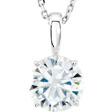 1 Ct Forever One Moissanite Solitaire Round Pendant Necklace 14k White Gold