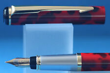 Baoer No. 801 Red & Black Leopard Print Fine Fountain Pen with Gold Trim