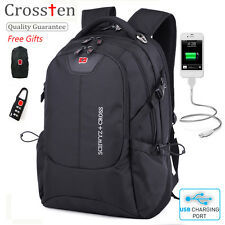 "Swiss Bag Multifunctional USB Charging Laptop Backpack 16"" Travel Bag Schoolbag"