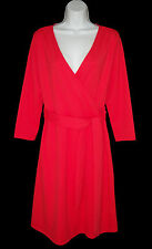 NEW Lands' End M 10 12 Ponte Knit Faux Wrap Dress Pink Red NWT