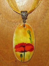 UNIQUE Russian hand painted White Lip SHELL PENDANT RED POPPY FLOWER necklace