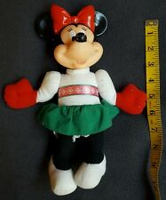 CHRISTMAS MINNIE MOUSE Plush Doll DISNEY Vinyl Head • Pre-owned • looks vintage