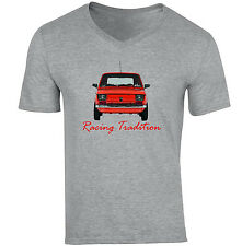 POLISH MALUCH RED FIAT 126P RACING TRADITION - NEW COTTON GREY V-NECK TSHIRT