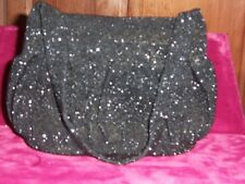 French beaded evening bag  Black with mirror and change purse  1930s Mint
