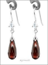 925 Silver Dangle Earrings CZ Teardrop Garnet Red 53007