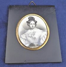 Antique Mounted Miniature Printed Portrait Pretty Young Woman c 1830 Alexandrina