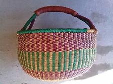 CLEARANCE Large AUTHENTHIC Handmade Ghana BOLGA Market Basket w/ Leather Handle