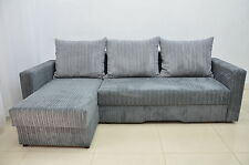 CORNER SOFA BED BRISTOL, SOFT CORD FABRIC, GREY, 2 STORAGES, SALE!!!