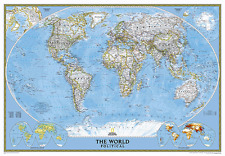 """2015 National Geographic Laminated Classic World Wall Map Enlarged 69"""" x 48"""""""