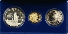 1986 US Mint Liberty Commemorative 3 Coin Silver & Gold Proof Set as Issued AMT