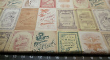 Fabric Fat Quarter TIM HOLTZ Vintage Salesmen Advert Cards Rustic Charm GRUNGE