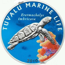 Tuvalu 2010 Hawksbill Turtle Dollar Colour Silver Coin,Proof