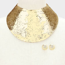 "13.50"" gold 4.25"" wide sheet choker collar necklace bib replica .75"" earrings"