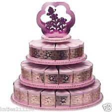 New wedding or baby shower pink flower 3 tier cake stand 48 cake slice gift box