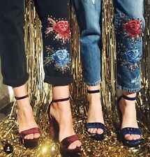 LF carmar blue high rise rose embroidered studded denim Jeans sz 26 $468