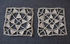 2 ANTIQUE FLOWER CYPRUS LACE APPLIQUES FOR DOLLS OR CRAFTS  UNUSED  #5233