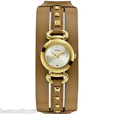 NEW-GUESS BROWN,TAN,LUGGAGE LEATHER CUFF+GOLD TONE PYRAMID STUDS WATCH W0160L4