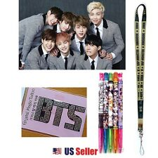 KPOP BTS BANGTANG BOYS - Lanyard Crystal Tattoo Sticker 5pcs Pen 1 Set