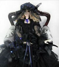 New Black Lace with Royal Blue Polka Dot Dress Doll Skirts For Bjd 1/4 Doll