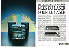 PUBLICITE advertising  1986   SONY   les chaines hi-fi laser ALLIANCE (2 pages)