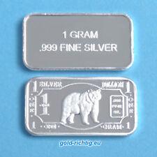 1 Gramm Silberbarren- Bär (999 Silber Feinsilber Barren Silver Bear Grizzly) NEU