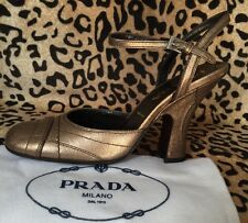 NIB Prada Mary Jane Metallic Gold Leather Pumps 6 1/2 Retail $ 495