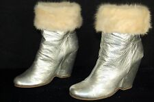 SUPER BEAUTIFUL!!!  Giuseppe Zanotti  SHEARLING WEDGE ANKLE BOOTS EU 38 US 7.5