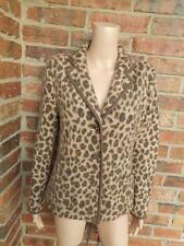 TALBOTS Leopard Animal Print Jacket Size M 100% Merino Wool Women Pocket Brown