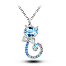 Beautiful Jewellery for Women Blue Crystal Lovely Cat Pendant Necklace N407