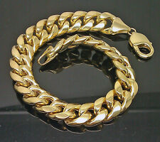 10K Men's Yellow Gold Thick Miami Cuben Bracelet 11mm, 8 Inches Long