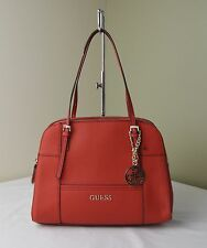 Guess Chili Red Lizard Huntley Triple Compartments Tote Satchel Shoulder Bag