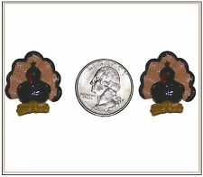 2 PC GOBBLE GOBBLE THANKSGIVING TURKEY FLATBACK FLAT BACK RESINS