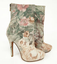 Pink Floral Printed Genuine Leather Boots Size 6 to 5 NYC Designer Handmade $395
