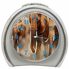African Elephants Alarm Clock Night Light Travel Table Desk