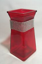 Vase Red Glass with Rhinestone Neck Bad Decorative Accessory Floral Vase
