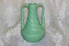"""1940's Rumrill Pottery Light Green Twisted Handle Vase 9"""" Tall Vintage"""