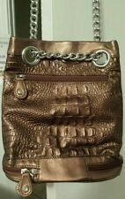 Bellerose Bronze Copper metallic cross body bag handbag purse with chain handle.