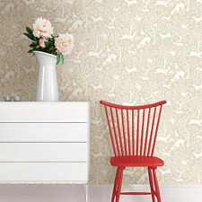 Quirky Designer Wallpaper featuring deer, rabbit and birds on a beige background