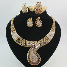 Fashion Women 18K Gold Plated Crystal Necklace Wedding Party Jewelry Set