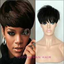 EM01 Pixie Cut Short Brazilian Human Hair Wigs with Bangs for African Americans