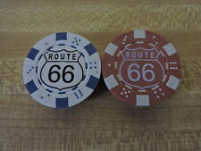 2 Route 66 Clay Poker Chips, 1 white & 1 brown