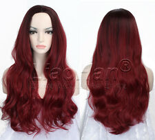 Long Wavy Ombre Wig Two Tone Ombre Black to Burgundy Wig for Women Cosplay WIG