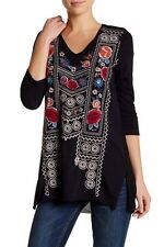 $144 NWT JWLA Johnny Was RAVEN EMBROIDERED TUNIC Top Blouse M Black