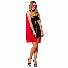 Adult Ladies Short Red Superhero Fancy Dress Costume Red Riding Hood Cape EF2161
