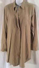 EQUIPMENT FEMME BEIGE 100% SILK LS BUTTON DOWN SHIRT DRESS LG